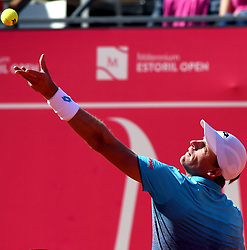 LISBON, May 4, 2018  South Africa's Kevin Anderson serves the ball during second round match of Estoril Open Tennis tournament against Greece's Stefanos Tsitsipas in Cascais, near Lisbon, Portugal, May 3, 2018. (Credit Image: © Zhang Liyun/Xinhua via ZUMA Wire)