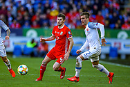 Wales defender Ben Davies on the ball during the UEFA European 2020 Qualifier match between Wales and Slovakia at the Cardiff City Stadium, Cardiff, Wales on 24 March 2019.