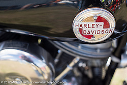 Harley-Davidson Panhead tank emblem detail taken at the AMCA (Antique Motorcycle Club of America) Sunshine Chapter National Meet in New Smyrna Beach during Daytona Beach Bike Week. FL. USA. Saturday March 11, 2017. Photography ©2017 Michael Lichter.