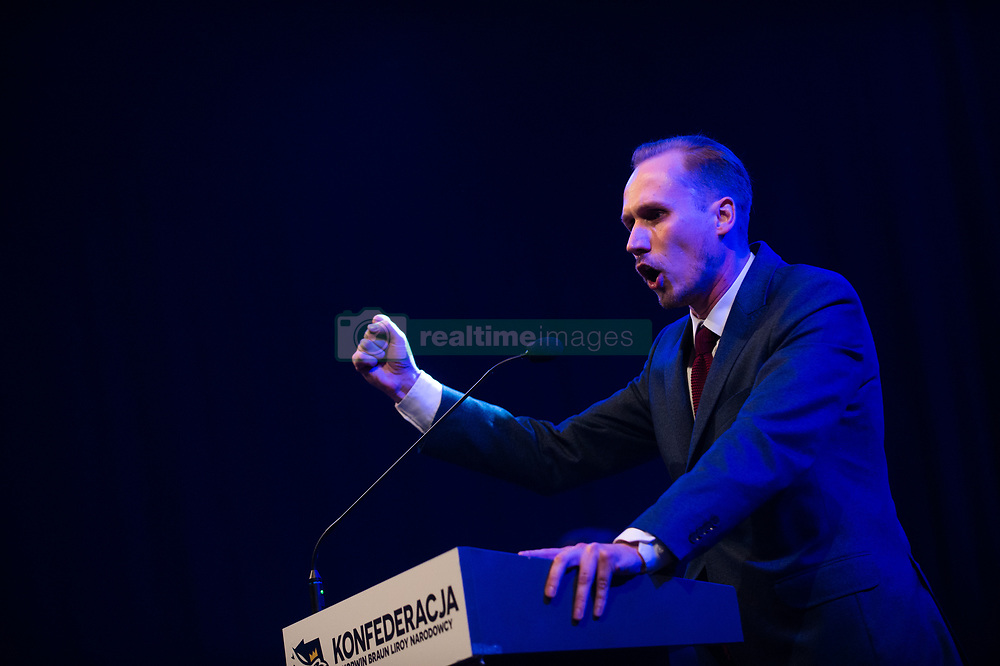 May 23, 2019 - Krakow, Poland - Konrad Berkowicz, leader of the far right and Euroscepticism Confederation Coalition seen delivering a speech during a campaign convention ahead of the EU elections..The Confederation coalition is composed by Janusz Korwin-Mikke, a popular public figure in mass media due to some controversial episodes like being suspended from the European Parliament after giving a Nazi salute during a speech, describing refuges who arrived in Europe in 2015 as human garbage. (Credit Image: © Omar Marques/SOPA Images via ZUMA Wire)