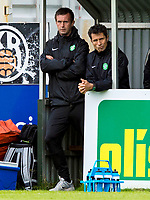 16/07/14 UEFA CHAMPIONS LEAGUE 2ND RND QUALIFIER<br /> KR REYKJAVIK v CELTIC<br /> KR-VOLLUR STADIUM - REYKJAVIK<br /> Celtic manager Ronny Deila (left) with assistant John Collins