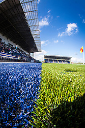 A view of the blue and green parts on the new plastic pitch at The Falkirk Stadium, for the Scottish Championship game v Morton. The woven GreenFields MX synthetic turf and the surface has been specifically designed for football with 50mm tufts compared with the longer 65mm which has been used for mixed football and rugby uses.  It is fully FFA two star compliant and conforms to rules laid out by the SPL and SFL.<br /> ©Michael Schofield.