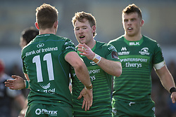 March 2, 2019 - Galway, Ireland - Matt Healy of Connacht celebrates with Kieran Marmion after scoring during the Guinness PRO 14 match  between Connacht Rugby and Ospreys at the Sportsground in Galway, Ireland on March 2, 2019  (Credit Image: © Andrew Surma/NurPhoto via ZUMA Press)