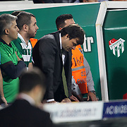 Bursaspor's head coach Ertugrul Saglam during their Turkish soccer super league match Bursaspor between Fenerbahce at Ataturk Stadium in Bursa Turkey on Saturday, 20 October 2012. Photo by TURKPIX