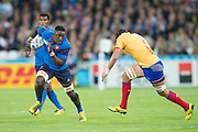 London, Great Britain,   Flanker. Yannick NYANGA, running with the ball, during the.  France vs Romania, game in 2015 Rugby World Cup, Pool D. Venue. The Stadium Queen Elizabeth Olympic Park. Stratford. East London. England,, Wednesday  23/09/2015. <br /> [Mandatory Credit; Peter Spurrier/Intersport-images]