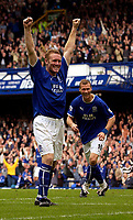 Photo. Jed Wee.<br /> Everton v Leeds United, FA Barclaycard Premiership, Goodison Park, Liverpool. 28/09/2003.<br /> Everton's Steve Watson (L) and Duncan Ferguson combine to score four goals to give Everton a 4-0 victory over Leeds.
