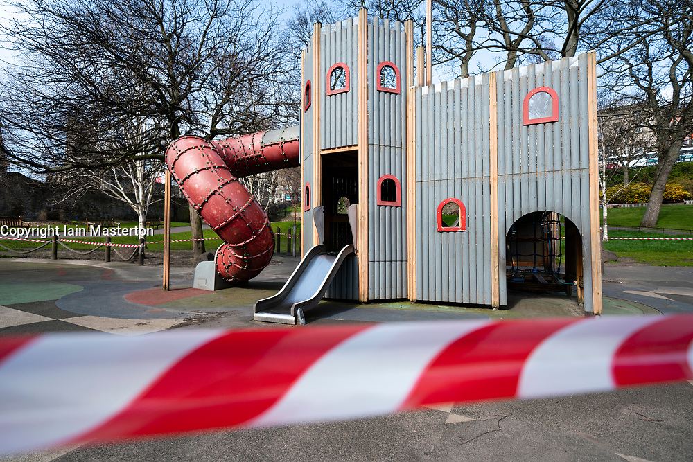Edinburgh, Scotland, UK. 24 March, 2020.  Children's playground in West Prices Street gardens closed and cordoned off with tape All shops and restaurants are closed with very few people venturing outside following the Government imposed lockdown today. Iain Masterton/Alamy Live News