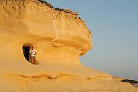 Xlendi bay, entrance to historic tower, Gozo, Maltese Islands