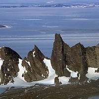 ANTARCTICA, Queen Maud Land. Towers in northeast Sor Rondane Mts.