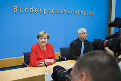August 29, 2017 - Berlin, Germany - German Chancellor Angela Merkel (L) is photographed by photographers after arriving to attend the annual summer press conference at the Bundespressekonferenz in Berlin, Germany on August 29, 2017. (Credit Image: © Emmanuele Contini/NurPhoto via ZUMA Press)