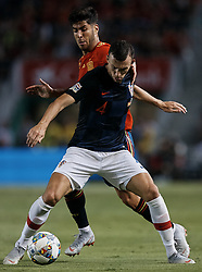 September 11, 2018 - Elche, Alicante, Spain - Marco Asensio (L) of Spain competes for the ball with Ivan Perisic of Croatia during the UEFA Nations League A group four match between Spain and Croatia at Martinez Valero  on September 11, 2018 in Elche, Spain  (Credit Image: © David Aliaga/NurPhoto/ZUMA Press)