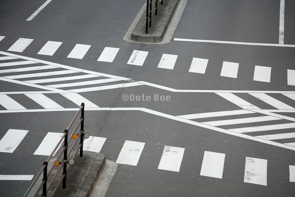 a typical multi pedestrian zebra crossing in Tokyo Japan