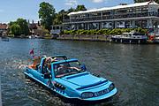 Henley-on-Thames. United Kingdom.  Amphibious Car passing Phyliss Court,2017 Henley Royal Regatta, Henley Reach, River Thames. <br /> <br /> 13:29:43  Sunday  02/07/2017   <br /> <br /> [Mandatory Credit. Peter SPURRIER/Intersport Images.