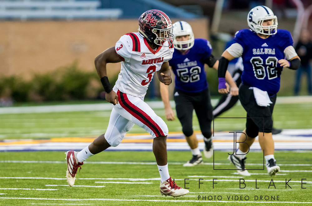 Barnwell Warhorses middle linebacker Deshawn Watson (3) chases a Saluda Shoals ball carrier in the Class AA State Championship game. 2019 Saluda State Championship Football Photos