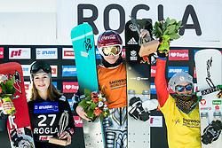 Second placed Carolin Langenhorst (GER), winner Ester Ledecka (CZE), third placed Ina Meschik (AUT)celebrate at trophy ceremony after Final Run at Women's Parallel Giant Slalom at FIS Snowboard World Cup Rogla 2017, on January 28, 2017 at Course Jasa, Rogla, Slovenia. Photo by Vid Ponikvar / Sportida