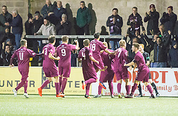 Arbroath's Ryan McCord (8) cele scoring their goal. Forfar Athletic 0 v 1 Arbroath, Scottish Football League Division Two game played 10/12/2016 at Station Park.