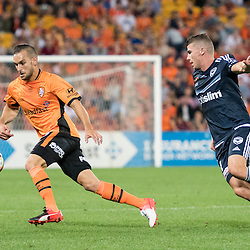 BRISBANE, AUSTRALIA - OCTOBER 7: Jack Hingert of the Roar controls the ball during the round 1 Hyundai A-League match between the Brisbane Roar and Melbourne Victory at Suncorp Stadium on October 7, 2016 in Brisbane, Australia. (Photo by Patrick Kearney/Brisbane Roar)