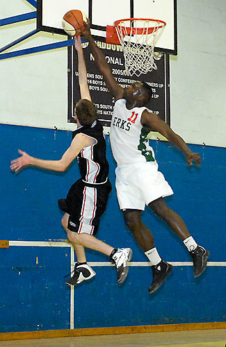 UK, Chelmsford - Thursday, March 05, 2009: Keith Pringle pins the ball against the backboard during the Essex Basketball League game Erkenwald at Baddow Eagles. Erkenwald won the game 94 - 75. (Image by Peter Horrell / http://www.peterhorrell.com)