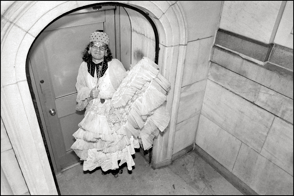 Rollerena Fairy Godmother came into being on the evening of Saturday, September 16, 1972 by a young man from Kentucky who put on a gown, a 1950s hat, and a straw basket and skated up and down Christopher Street in Greenwich Village, New York City. Rollerena was an active member of ACT UP NY