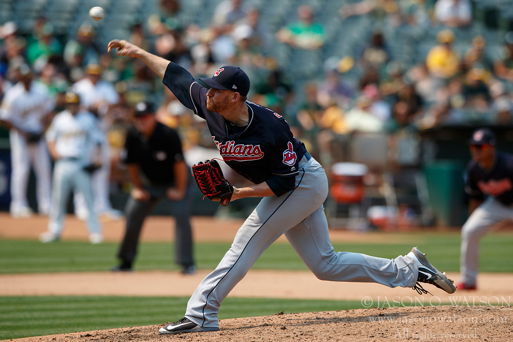 OAKLAND, CA - JULY 01: Neil Ramirez #58 of the Cleveland Indians pitches against the Oakland Athletics during the seventh inning at the Oakland Coliseum on July 1, 2018 in Oakland, California. The Cleveland Indians defeated the Oakland Athletics 15-3. (Photo by Jason O. Watson/Getty Images) *** Local Caption *** Neil Ramirez