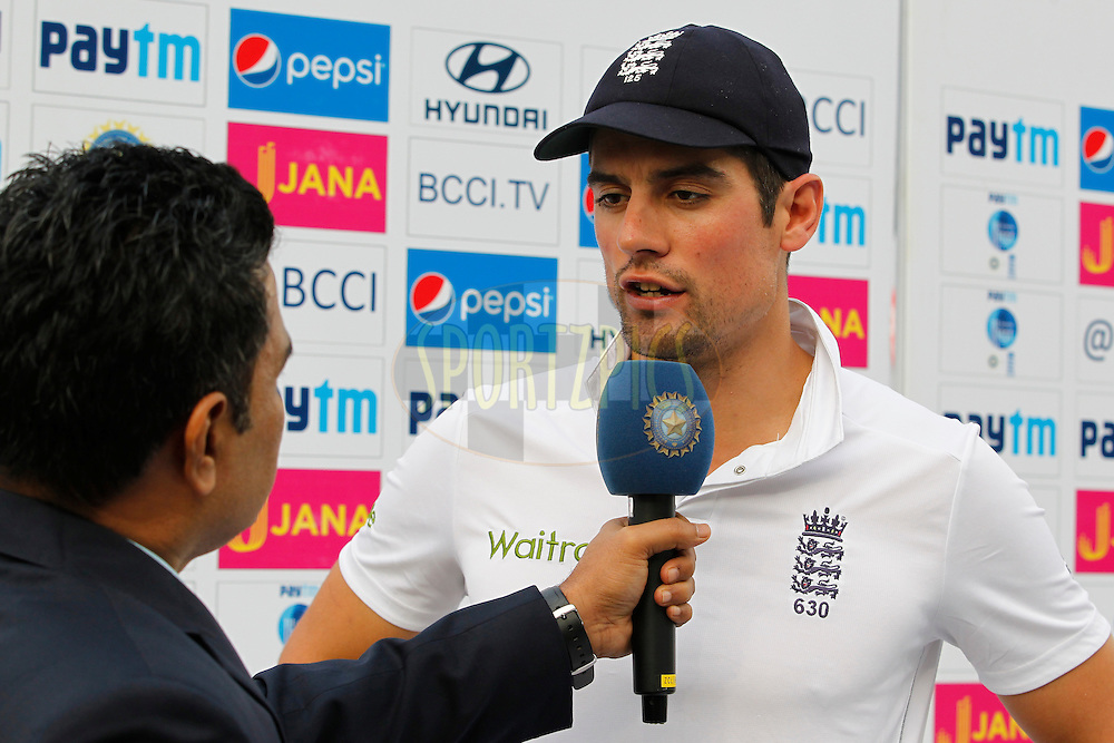 Alastair Cook Captain of England during day 4 of the third test match between India and England held at the Punjab Cricket Association IS Bindra Stadium, Mohali on the 29th November 2016.<br /> <br /> Photo by: Deepak Malik/ BCCI/ SPORTZPICS