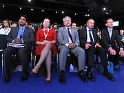 © Licensed to London News Pictures. 04/10/2011. MANCHESTER. UK. Col Tim Collins (light grey suit) sits in the audience after he addresses The Conservative Party Conference at Manchester Central today, October 4, 2011. Photo credit:  Stephen Simpson/LNP
