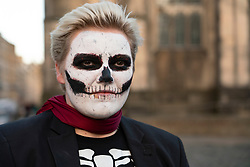 Edinburgh,Scotland, UK. 31 October 2020. Woman in costume and makeup outdoors celebrating Halloween in city centre of Edinburgh. Iain Masterton/Alamy Live News