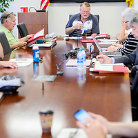 Ralph Richards, center, leads a meeting of the University of New Mexico Gallup advisory board Tuesday at UNM-Gallup.
