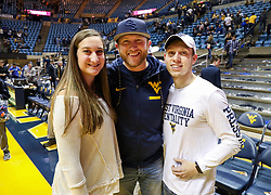 Feb 10, 2018; Morgantown, WV, USA; Country artist Cole Swindell poses fans after the game at WVU Coliseum. Mandatory Credit: Ben Queen-USA TODAY Sports