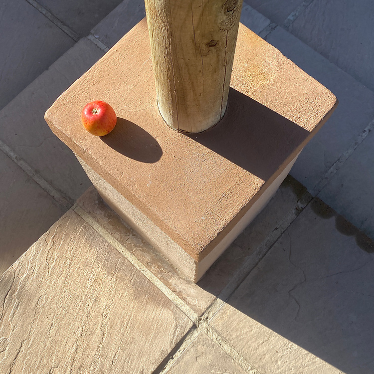 Lockdown Day 4 <br />Each morning I've watched the early morning sunshine slide over the neighbours wall and illuminate this post, highlighting it against the shadows of the paving slabs behind. It's daft in a way but I just love the rounded cylinder of the post set amongst all the squares / diamonds.<br />This morning I stood out there with my apple and suddenly decided to just place it in the shot - so not a pure find but it was a pure consideration. Hope you like it