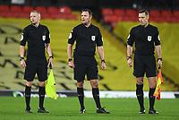 Football - 2020 / 2021 Sky Bet Championship - Watford vs Brentford - Vicarage Road<br /> <br /> Referee James Linington (middle) with his assistants.<br /> <br /> COLORSPORT/ASHLEY WESTERN
