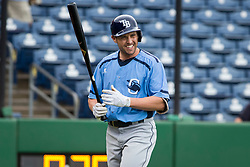 June 5, 2017 - St. Petersburg, Florida, U.S. - WILL VRAGOVIC   |   Times.Charlotte Stone Crabs outfielder Peter Bourjos (17) after striking out in the first inning of the game between the Charlotte Stone Crabs and the Clearwater Threshers at Spectrum Field in Clearwater, Fla. on Monday, June 6, 2017. (Credit Image: © Will Vragovic/Tampa Bay Times via ZUMA Wire)