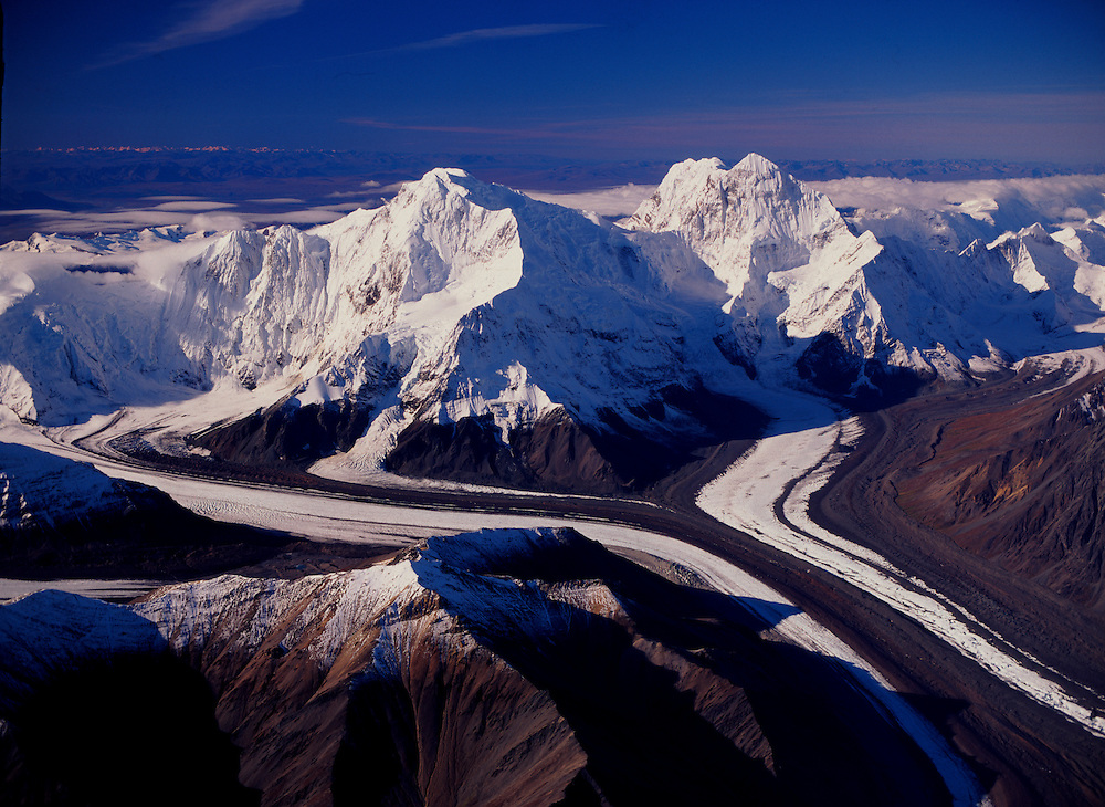 Alaska. Cantwell. Mt Hess (11,940') and Mt Deborah (12,339') on right. Gillam Glacier on lower right.