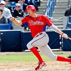 March 4, 2012; Tampa Bay, FL, USA; Philadelphia Phillies right fielder Hunter Pence (3) hits during spring training game against the New York Yankees at George M. Steinbrenner Field. Mandatory Credit: Derick E. Hingle-US PRESSWIRE