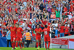 LONDON, ENGLAND - Saturday, August 6, 2016: Liverpool's Sadio Mane celebrates scoring the first goal against FC Barcelona during the International Champions Cup match at Wembley Stadium. (Pic by David Rawcliffe/Propaganda)