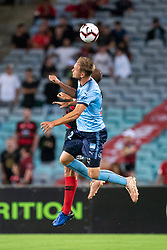 December 15, 2018 - Sydney, NSW, U.S. - SYDNEY, NSW - DECEMBER 15: Sydney FC midfielder Siem de Jong (22) goes up for the ball at the Hyundai A-League Round 8 soccer match between Western Sydney Wanderers FC and Sydney FC at ANZ Stadium in NSW, Australia on December 15, 2018. (Photo by Speed Media/Icon Sportswire) (Credit Image: © Speed Media/Icon SMI via ZUMA Press)