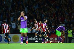 Neal Maupay of Brentford celebrates scoring a goal - Mandatory by-line: Dougie Allward/JMP - 15/08/2017 - FOOTBALL - Griffin Park - Brentford, England - Brentford v Bristol City - Sky Bet Championship