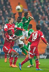 01.03.2014, Weserstadion, Bremen, GER, 1. FBL, SV Werder Bremen vs Hamburger SV, 23. Runde, im Bild Santiago Garcia (SV Werder Bremen #2), Assani Lukimya (Bremen #5) steigen zum Koppfball hoch // Santiago Garcia (SV Werder Bremen #2), Assani Lukimya (Bremen #5) steigen zum Koppfball hoch during the German Bundesliga 23th round match between SV Werder Bremen and Hamburger SV at the Weserstadion in Bremen, Germany on 2014/03/02. EXPA Pictures © 2014, PhotoCredit: EXPA/ Andreas Gumz<br /> <br /> *****ATTENTION - OUT of GER*****