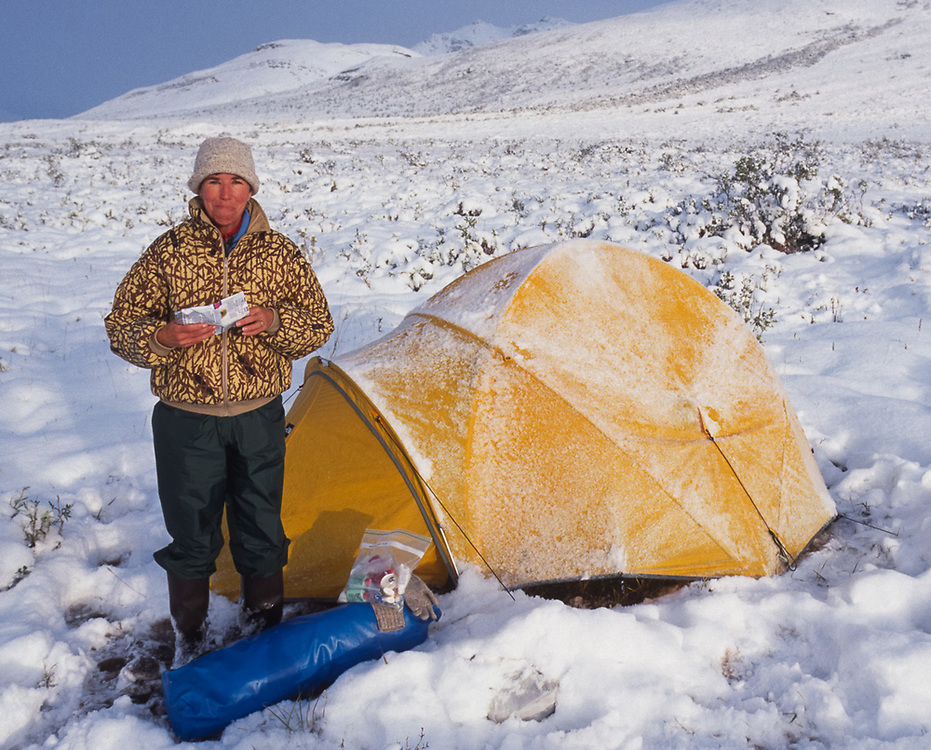 Pat Willits, Noatak River campsite after a snowstrom, Gates of the Arctic National Park, Alaska, USA, August 1994