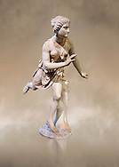Statue of  Atalanta a 2nd century Roman sculpture restored in the 17th century. Atalanta  is a character in Greek mythology, a virgin huntress, unwilling to marry, and loved by the hero Meleager.. The Mazarin Collection  Louvre Museum, Paris.