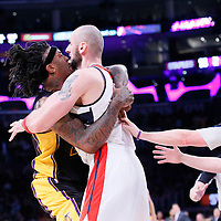 21 March 2014: Los Angeles Lakers forward Jordan Hill (27) pushes Washington Wizards center Marcin Gortat (4) during the Washington Wizards 117-107 victory over the Los Angeles Lakers at the Staples Center, Los Angeles, California, USA.