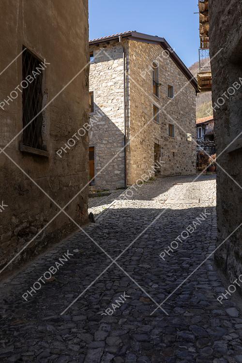 08.04.2021 Brè Paese in Ticino, Switzerland. Alley and nobody inside