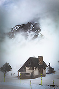 La Mongie, ski resort, in a thick fog.