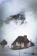 La Mongie, ski resort, in a thick fog.