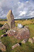 Modern bluestone single stone megalith, near Mynachlogddu, Preseli Hills, Pembrokeshire, Wales
