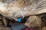 Kirby McCoy on Euro Low V13, White pine, Little Cottonwood Canyon, Utah