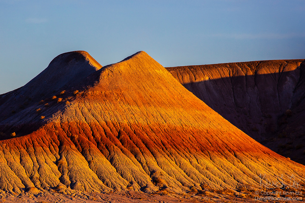 The badlands of the Petrified Forest National Park, Arizona, are turned red by the setting sun. Badlands are a type of dry terrain where clay or soft sedimentary rock have been heavily eroded by rain and wind and where vegetation is scarce.