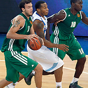 Panathinaikos's Romain Lebel GUESSAGBA (R) and Patrick CALATHES (L) during their Two Nations Cup basketball match Fenerbahce Ulker between Panathinaikos at Abdi Ipekci Arena in Istanbul Turkey on Sunday 02 October 2011. Photo by TURKPIX