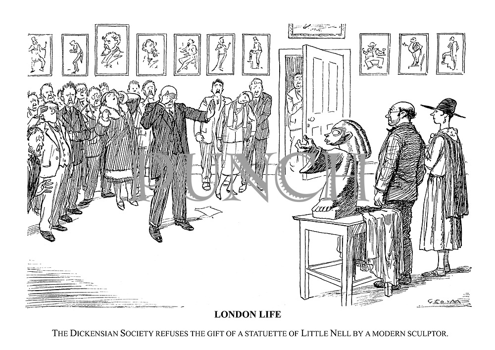 London Life. The Dickensian Society refuses the gift of a statuette of Little Nell by a modern sculptor.