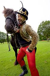 Lucy Jane Parkinson - AKA award-winning drag king LoUis CYfer on horseback as Joan of Arc. JOAN is a lyrical and poetic performance that combines theatre, new writing and cabaret as Joan of Arc invades Edinburgh as part of Underbelly Untapped. The Meadows, Edinburgh, (c) Brian Anderson   Edinburgh Elite media